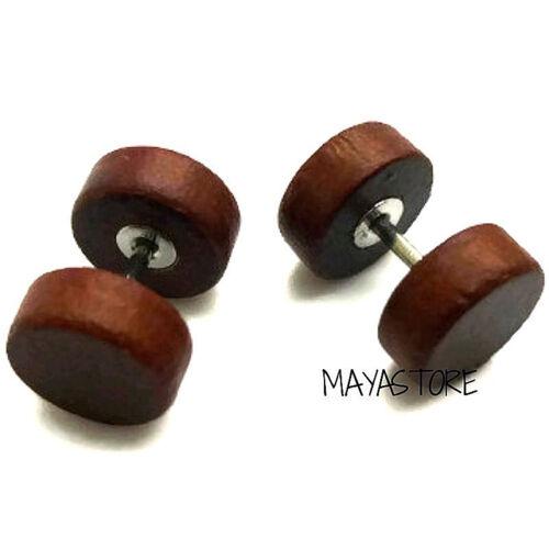 6MM-50MM Ear Plug Wood Natural Tunnel Flesh Studs Fake Piercing Braun Black