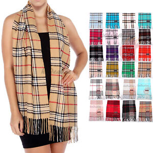 100-CASHMERE-Scarf-Check-Tartan-Plaid-Wrap-Plain-Scarves-Winter-Warm