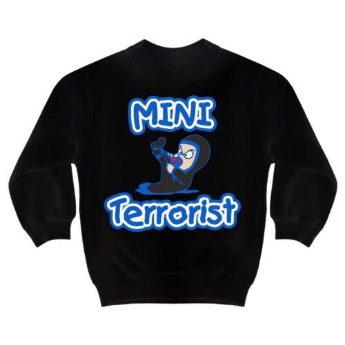 Bambini Pullover Mini terrorista 98 a 164 figlio figlia Fun regalo divertente divertimento
