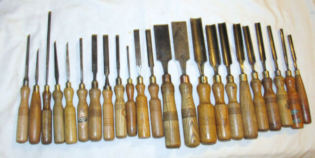 Mixed lot of 23 woodworking chisels gouges old woodworking tools chisel