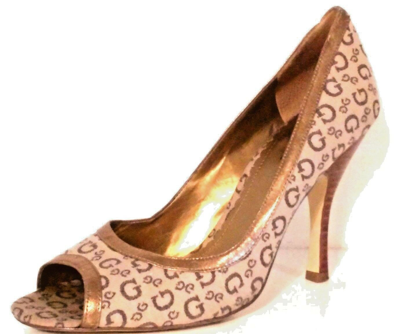 GUESS - Women's gold and Tan Peep Toe Pumps - Size  7.5 MEDIUM