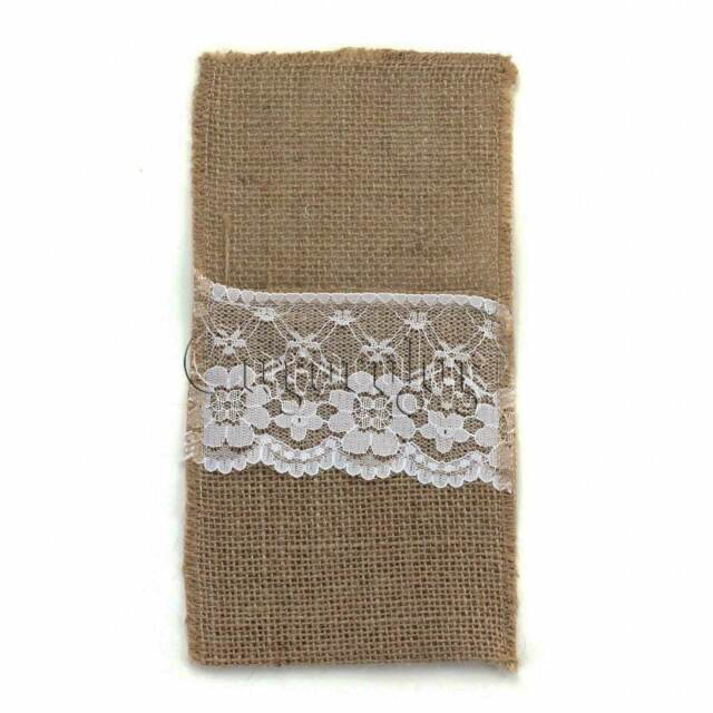 11 x 22cm Hessian Burlap Lace Cutlery Pouch Rustic Wedding Tableware Bags Favor