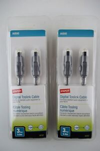 2-Pk-Staples-TOSLINK-Fiber-Optical-Optic-Digital-Audio-S-PDIF-Cable-Cord-3ft-3-039
