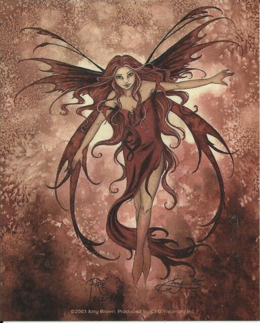 """AMY BROWN FAIRY FAERY STICKER DECAL """"FIRE ELEMENT"""" FROM 2003"""
