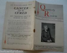 Quarterly Review New York City Cancer Committee 1939  Worlds Fair Edition