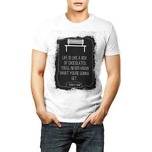 Designer Forrest Gump Chocolates Printed T shirt Sports Wear White Round Neck