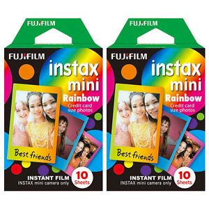 20 Scatti Fuji Instax Mini Pellicola Istantanea colori arcobaleno per FUJIFILM MINI TELECAMERE