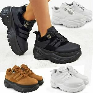 bc90fbc44c6e Image is loading Womens-Ladies-High-Platform-Trainers-Sneakers-Retro-Boots-