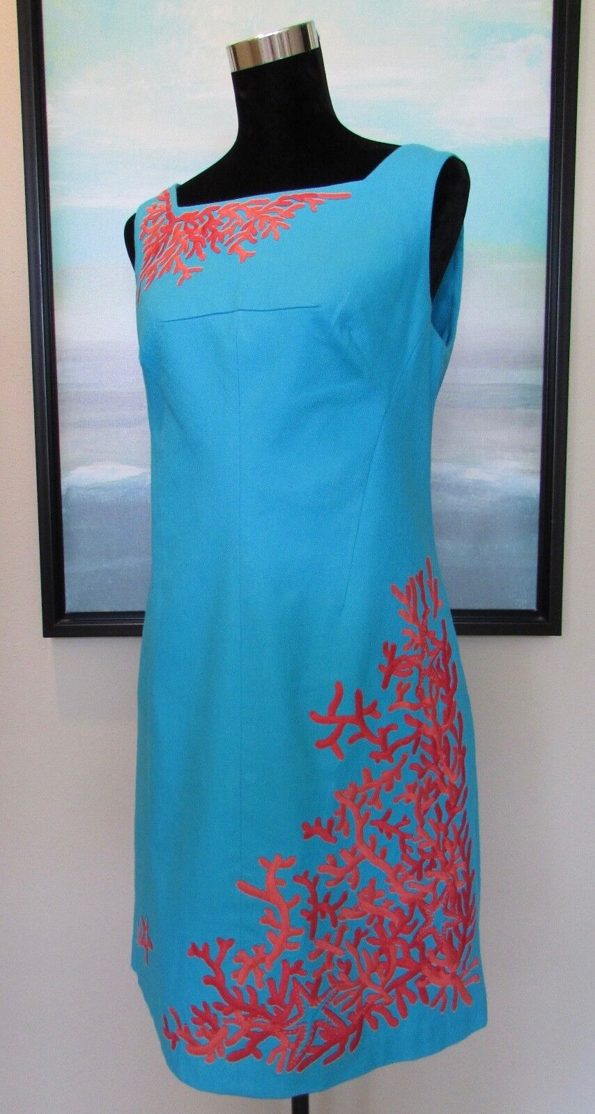 Lilly Pulitzer Turquoise Coral Embroidered Embroidered Embroidered Sheath Dress Sz 10 eb3ab0