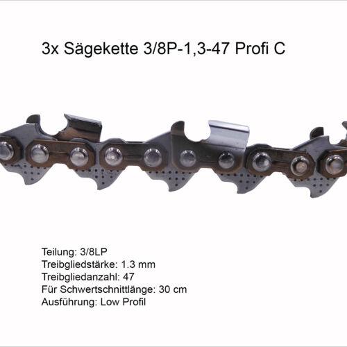 3 Stück Profi C Sägekette 3//8P 1.3 mm 47 TG Low Profi Ersatzkette für Stihl