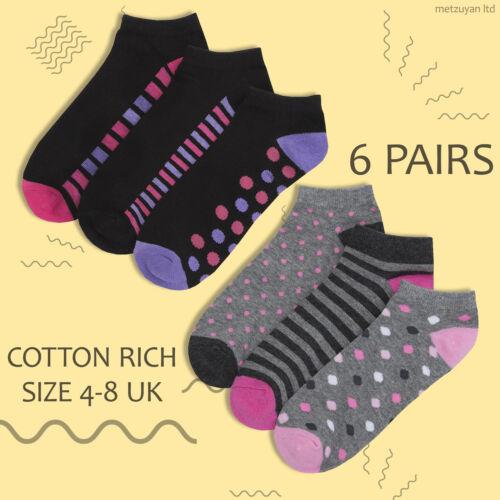 Details about  /Ladies Socks Black Grey Ankle Trainer Liner Sport Size 4-8 Cotton Rich Bundle