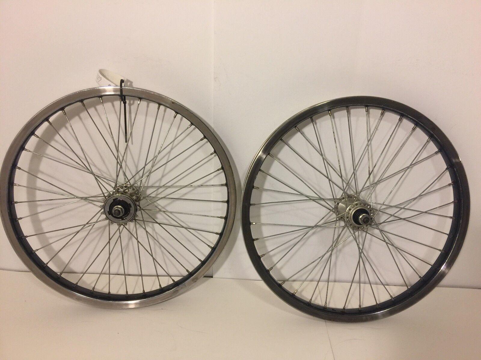 Pair of 20  BMX Bicycle Wheels Steel ACS 1993 Old School Bike 339
