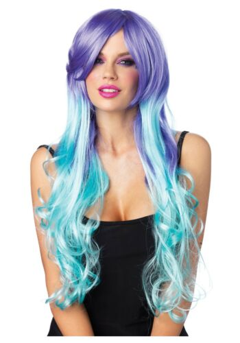 Leg Avenue Moonlight Long Curly Wig w//Optional Pony Tail Clips-Blue//Purp-New