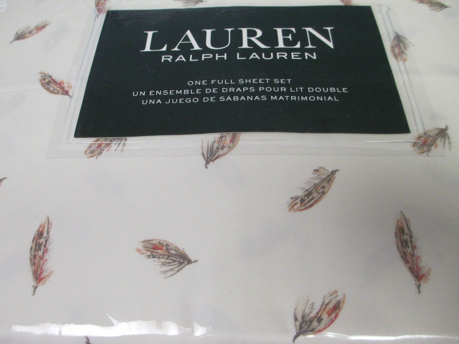 New Ralph Lauren 4pc Cotton Cream orange Brown FEATHER Sheet Set - Full