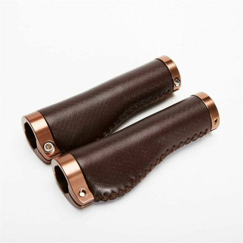 Bike Leather Grips Vintage Lock On Alloy Bicycle Handlebar Retro Cycling Parts