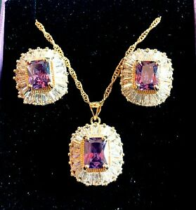 Gold-Necklace-Earrings-Amethyst-amp-Sim-Diamond-18ct-GF-Matching-Set-Plum-UK-BOXED