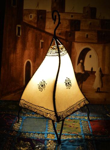 Moroccan Floor Lamp Henna Goat Skin Handmade Decorative Home Decor Small Beige