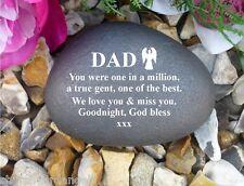 Memorial Gift Personalised Pebble (Stone effect) DAD/Angel