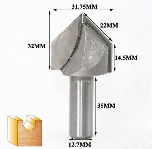 """90 Degree V Groove Solid Carbide Router Bit 1//4/"""" or 1//2/"""" Shank Select"""