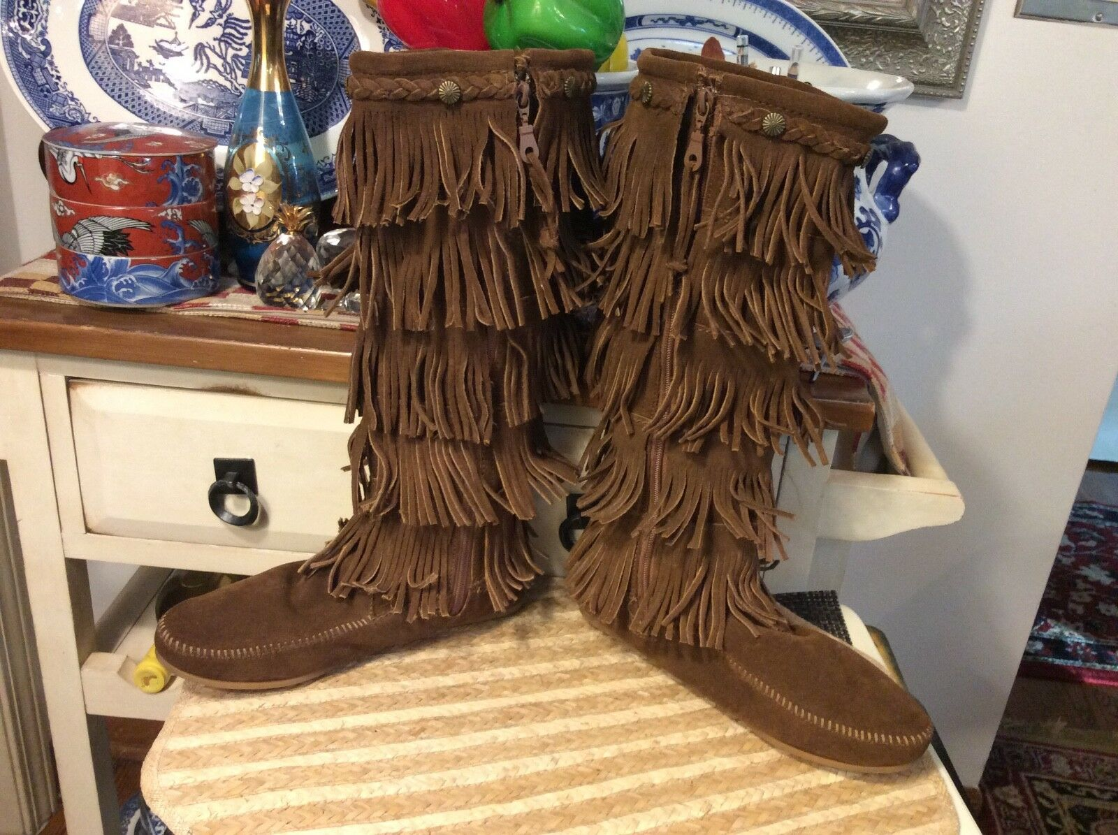 Women's Minnetonka Minnetonka Minnetonka Moccasin 5-Layer Fringe Suede Brown Western Tall Boots 9,euc d1d2b2