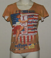 Theatre Guild Our Heroes Flag Clothes .com Brown Shirt Womens Size Medium