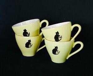 Vinatge-cups-034-Zwarte-kat-034-koffie-kopjes-set-4-stuks
