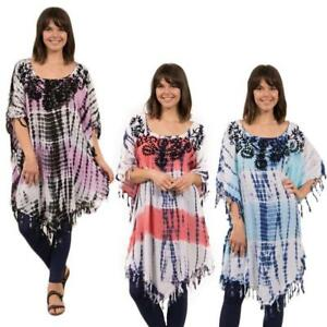 33731ec3b2 Details about Caroline Morgan Casual Boho Summer Beach Tie Dye Kaftan Top  Tunic Dress s8-16