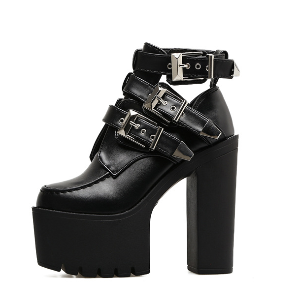 Womens Ankle Boots Punk Hollow Hollow Hollow Belt Buckles Platform Chunky high Heels Biker M78 263e66