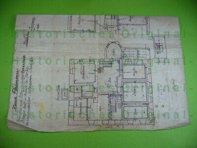 706km1 Bauzeichnung Grundriss: Rittergut Reuth Sachsen Elektrifizierung 1913 Seien Sie Im Design Neu