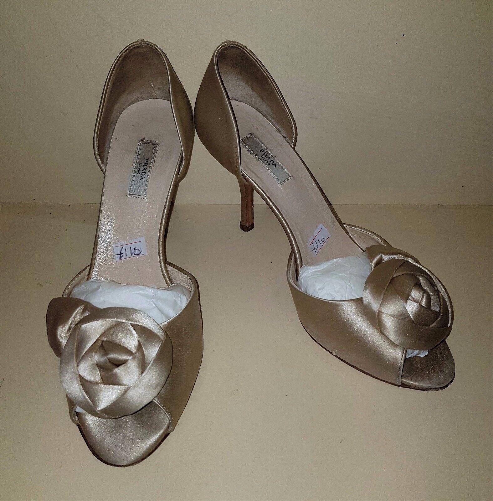 Prada desnuda Satén Tacones Zapatos Mujeres Usado Seminuevo Seminuevo Seminuevo De Damas De Boda Talla 3.5 36.5  60% de descuento