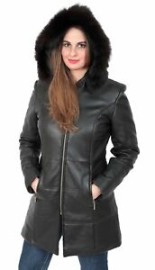 244f8b0f299 Details about Womens Quilted Parka Leather Coat 3/4 Long Puffer Fitted  Padded With Hood Jacket