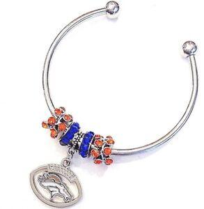 Image Is Loading Denver Broncos Bracelet Bangle Football Charm Euro Beads