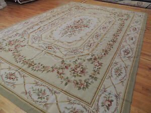 10x14 French Aubusson Style Area Rug Oriental Hand Knotted Wool Green Pink Beige