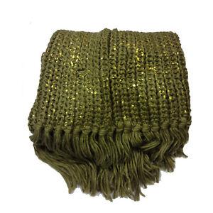 e54cf5a0d0ca Écharpe col-écharpe femme doux et chaude laine brun et or bordé   eBay