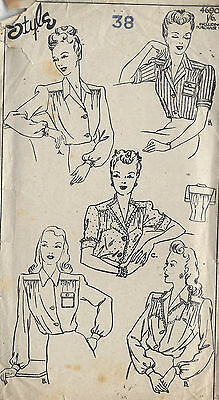 1940s WW2 Vintage Sewing Pattern B38 BLOUSE (1315)