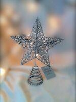 Gisela Graham Christmas Silver Wire Mesh Star Tree Topper 20cm Glitter Festive