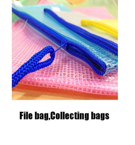 5 Pcs A4 Plastic Zippy Bag File Storage Document Folder Protective Wallet Sleeve