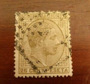 SELLO-CLASICO-ESPANA-USADO-1878-ALFONSO-XII-25-CTS-ED-194