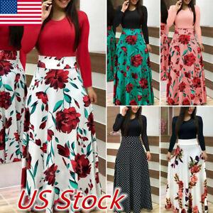 Fashion-Women-039-s-Floral-Long-Maxi-Dress-Cocktail-Party-Summer-Beach-Sundress-USA