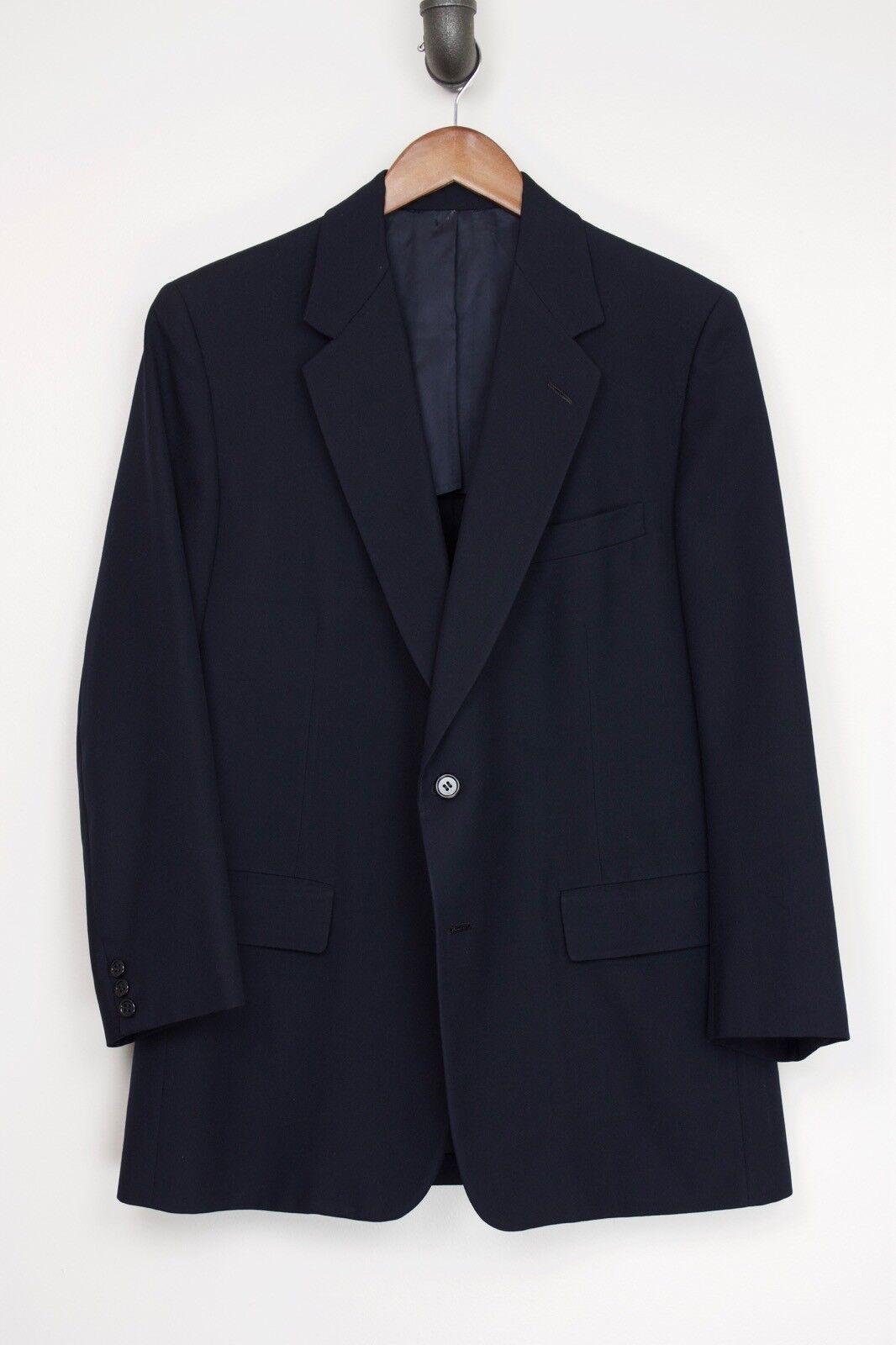 Hickey Freeman Herren Anzug 44R 39x28 Solides Marineblau Wolljacke Plissiert
