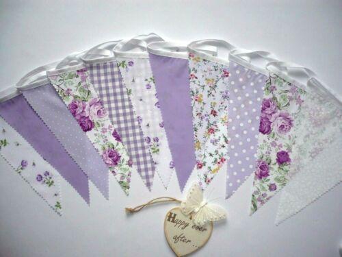 Fabric Bunting Lilac Floral Wedding Celebration Party Decor 3m Lilac Sensation