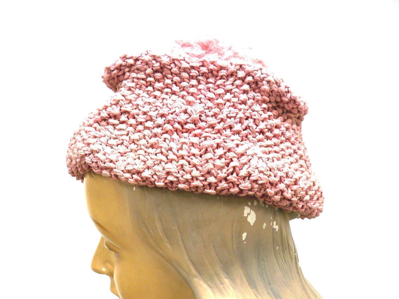 VTG Knit Hat Dusty Rose Pink Metallic Hand-Knit 1… - image 7