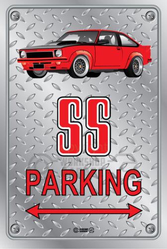 Checkerplate Look Parking Sign Metal Torana A9X SS Red