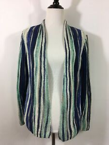Chicos-1-Size-M-Sweater-Open-Front-Cardigan-Linen-Blend-Knit-Green-Blue-Tan