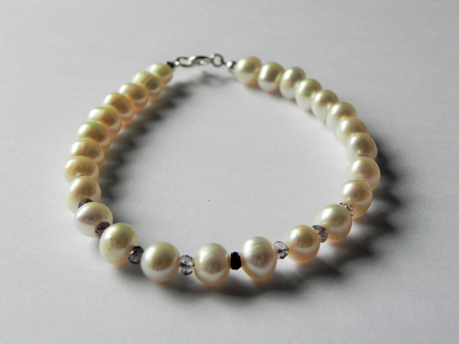 Freshwater pearl and spinel gemstone bracelet