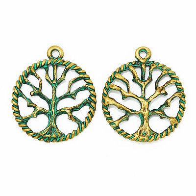 Verdigris Patina  Brass Stamping Jewelry Finding 20pcs