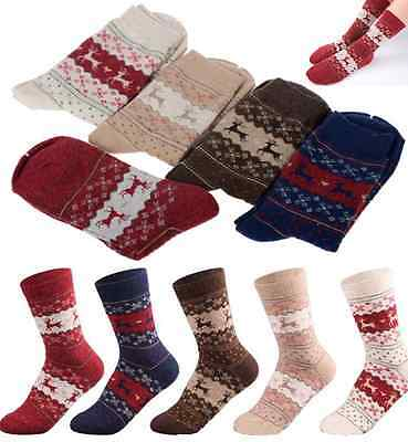 Women Winter Warm Wool Socks Christmas Gift Cute Snowflake Deer Sock Comfortable