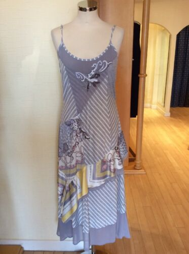 14 Robe Gris Leslie Bnwt Ray Taille Jaune Blanc wrqERrvI