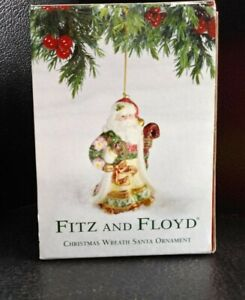 New-Fitz-And-Floyd-Christmas-Wreath-Santa-Collectible-2003-Ornament