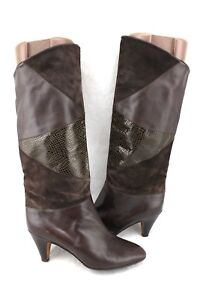MONTEBELLO-Italy-Brown-Lizard-Embossed-Leather-Vintage-Mid-Calf-Heels-Boots-7-38